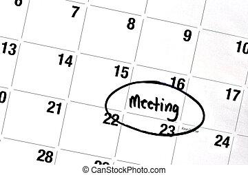 mot, réunion, écrit, et, entouré, sur, calendrier