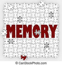 mot, rappeler, mémoriser, esprit, passé, re, mémoire, perdre...
