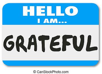 mot, reconnaissant, autocollant, étiquette, mots, bonjour, ...