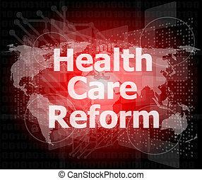mot, reform, moderne, virtuel, écran, santé, fond, toucher, technologie, soin