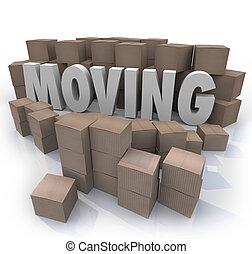 mot, relocalisation, boîtes, en mouvement, aller, carton, tassé