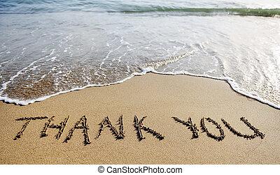 mot, remercier, sable, dessiné, vous, plage