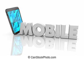 mot, render, mobilité, communication mobile, illustration, téléphone portable, 3d