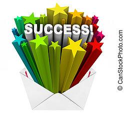 mot, reussite, éclatement, gagnant, enveloppe, résultat, étoiles