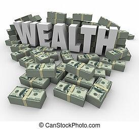 mot, richesse, argent, économies, revenus, riche, revenu, abondance, piles