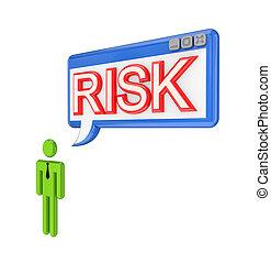mot, risk., personne, fenêtre, petit, os, 3d
