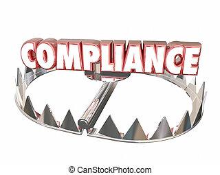 mot, risque, règles, conformité, ours, règlements, piège, légal, 3d