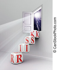 mot, salle, escalier, blocs, rouges, risque