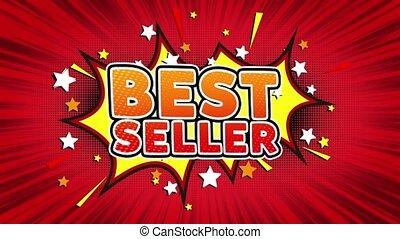 mot, seamless, mieux, vendeur, dessin animé, retro, bulles, comique, boucle