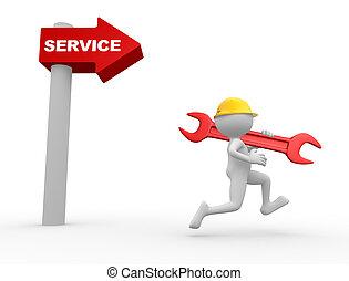 mot, service., flèche