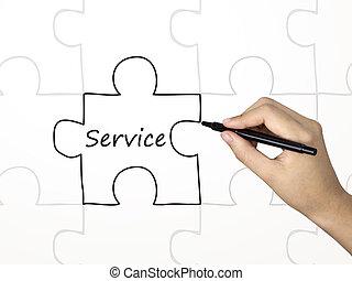 mot, service, puzzle, main, humain, dessiné