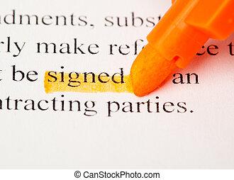 mot, signé