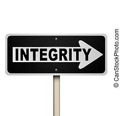 mot, signe, rue à sens unique, intégrité, route