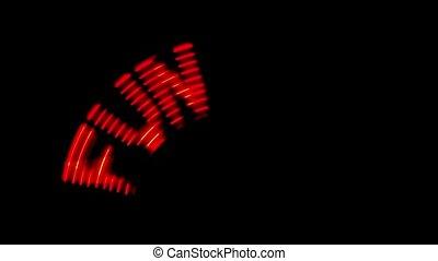 mot, signe, tourne, amusement, illumination, disappears, apparaît