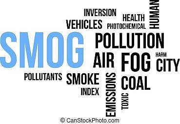 mot, smog, -, nuage
