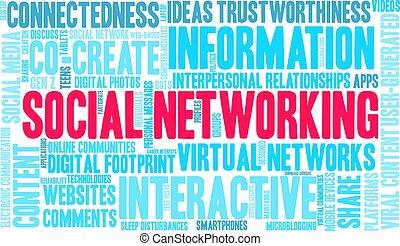 mot, social, nuage, gestion réseau