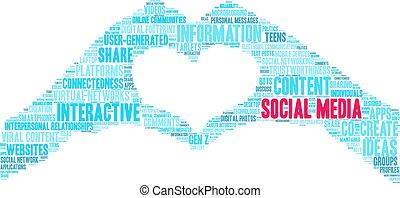 mot, social, nuage, média