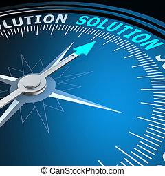 mot, solution, compas