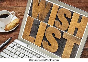 mot, souhait, résumé, ordinateur portable, liste