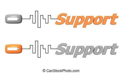 mot, soutien, connecté, à, a, souris, -, orange, et, gris