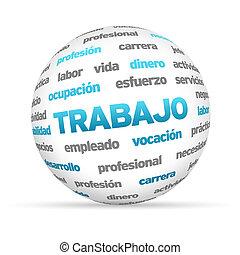 mot, sphère, travail, spanish), (in, 3d