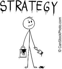 mot, stratégie, pinceau, homme affaires, peinture, dessin animé, boîte