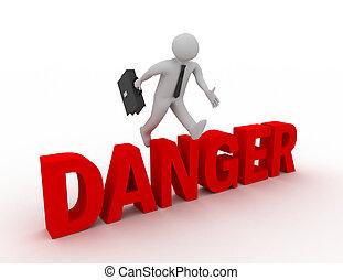 mot, sur, 'danger', sauter, fond, homme affaires, blanc, 3d