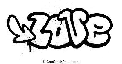 mot, sur, graffiti, amour, blanc, noir