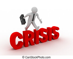 mot, sur, sauter, fond, homme affaires, blanc, 'crisis', 3d
