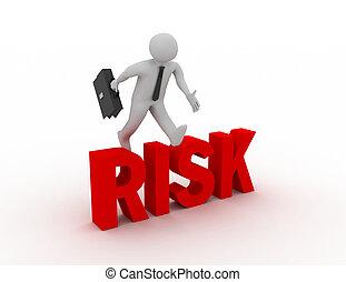 mot, sur, sauter, fond, homme affaires, blanc, 'risk', 3d