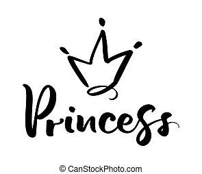 mot, symbole, couronne, isolé, illustration, main, stylisé, vecteur, conception, white., dessiné, princess., logo, calligraphic