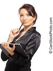 mot, tänkande, bakgrund, ung, stående, kvinnlig, medan, intagande antecknar, entreprenör, vit