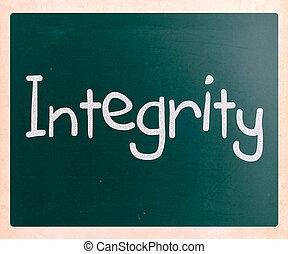 """mot, tableau noir, craie, blanc, """"integrity"""", manuscrit"""