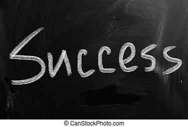 mot, tableau noir, craie, blanc, 'success', manuscrit