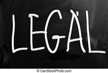 """mot, tableau noir, """"legal"""", craie, blanc, manuscrit"""