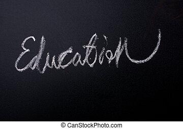 mot, tableau noir, main, craie, écrit, blanc, education