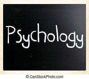 mot, tableau noir, 'psychology', craie, blanc, manuscrit