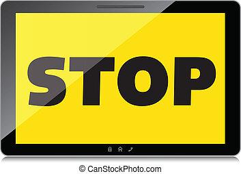 mot, tablette, arrêt, screen., high-quality, exposer