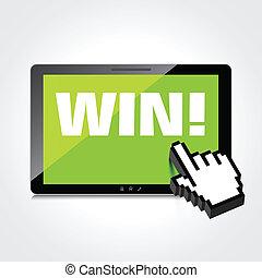 mot, tablette, gagner, screen., high-quality, exposer