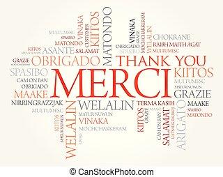 mot, (thank, merci, french), vous, nuage