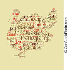 mot, thanksgiving, nuage, jour
