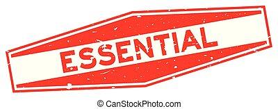 mot, timbre, caoutchouc, fond, cachet, grunge, blanc, hexagone, essentiel, rouges