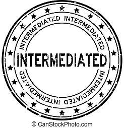 mot, timbre, caoutchouc, intermediated, fond, cachet, grunge, noir, blanc, squre