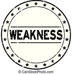 mot, timbre, faiblesse, caoutchouc, arrière-plan noir, cachet, grunge, blanc, étoile, rond, icône