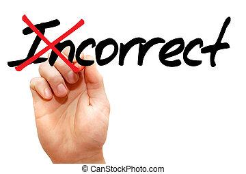mot, tourner, incorrect, correct
