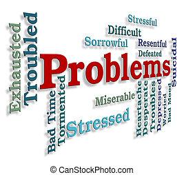 mot, trébucher, problèmes, indique, dilemme, bloc