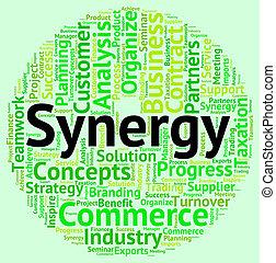 mot, travailler ensemble, synergie, indique, coopération
