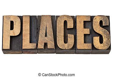 mot, type, endroits, letterpress