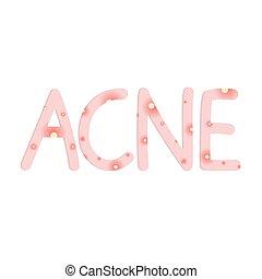 mot, vecteur, concept-, illustration, acné
