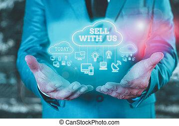 mot, vendeur, écriture, commerce., ligne, texte, électronique, vendre, business, regarder, concept, us., vente, plate-forme